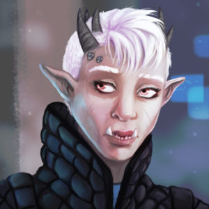 Fan-character portrait created in the style of Shadowrun