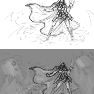 Design decided, sketching scene ideas and figuring out lightning